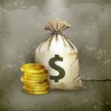 Moneybag, old-style. Computer illustration on gray background Royalty Free Stock Photos