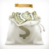 Moneybag. Paper money vector icon Royalty Free Stock Photos