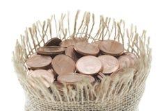 Moneybag in pieno delle monete Fotografia Stock Libera da Diritti
