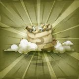 Moneybag vektorbakgrund Royaltyfri Bild