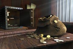 Moneybagen på en tabell royaltyfri illustrationer