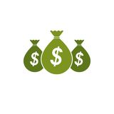 Moneybags with Dollar signs, vector icon. Investment, Savings, W Royalty Free Stock Photography