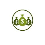 Moneybags with Dollar signs, vector icon. Investment, Savings, W Royalty Free Stock Photos