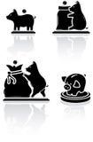 Moneybox. Set of black moneybox icons on white background, illustration Royalty Free Stock Image