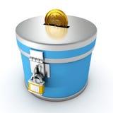 与挂锁的蓝色moneybox和金黄美元铸造 免版税库存照片