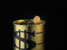 Монетка на moneybox Стоковое Изображение RF
