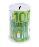 Moneybox. With euro sign. Isolated on white background Royalty Free Stock Photos