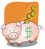 Moneybox. Funny illustration showing a box-shaped pig collecting some coins Royalty Free Stock Photos