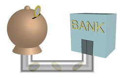 Moneybox-bank. Moneybox connected to a bank Stock Photos