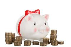 Moneybox blanco de cerámica del cerdo Foto de archivo libre de regalías