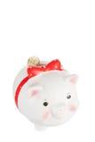 Moneybox blanco del cerdo Imagenes de archivo