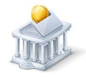 Moneybox d'â d'édifice bancaire Images libres de droits