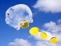 Moneybox di volo Fotografie Stock Libere da Diritti