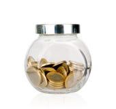Moneybox do frasco do dinheiro isolado Fotografia de Stock