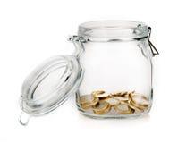 Moneybox do frasco do dinheiro isolado Fotos de Stock