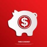 Moneybox do vetor com sinal de dólar Tempo é dinheiro Imagens de Stock Royalty Free