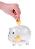 Moneybox en verre de type de tirelire Image libre de droits