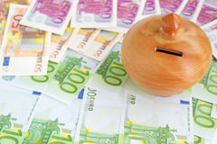 Moneybox on euros Stock Photo