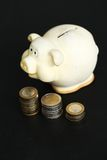 Moneybox. Finance, piggy. Moneybox on the table Royalty Free Stock Images