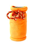 Moneybox in the form of a bag. Orange moneybox in the form of a bag on a white background Stock Photo