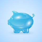 Moneybox. Glassy moneybox in the form of pig on blue background, illustration Stock Photography