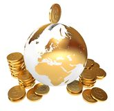 Moneybox. Global economy. Conceptual illustration. Isolated on white background. 3d render Royalty Free Stock Images