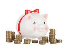 Moneybox graciosamente del cerdo Imágenes de archivo libres de regalías