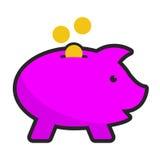 Moneybox leitão do vetor Imagens de Stock Royalty Free