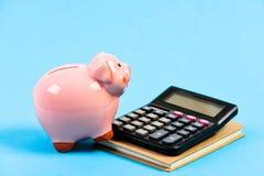 Moneybox med räknemaskinen Piggy packa ihop pengarbesparing Redovisning och lönelista _ bakgrund diagrams finansiell white f?r oe fotografering för bildbyråer