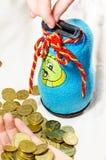 Moneybox para las monedas Foto de archivo libre de regalías