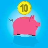 Moneybox para o dinheiro sob a forma de um porco Imagens de Stock
