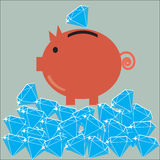 Moneybox - piggy bank with a diamonds Royalty Free Stock Photos