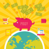 Moneybox Piggy illustration Arkivfoton