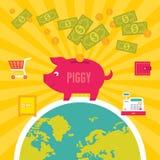 Moneybox Piggy Illustration. In Flat Design Style Stock Photos