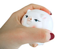 Moneybox Piggy in mano della donna. Fotografie Stock