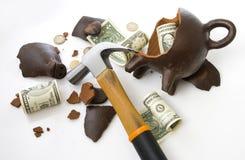 Moneybox porcin cassé Photographie stock libre de droits