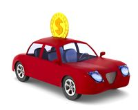 moneybox Rode auto op witte achtergrond Geïsoleerde 3d illustratie Royalty-vrije Stock Foto's