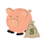 Moneybox in shape of pig with bag and dollar symbol. Vector illustration Royalty Free Stock Images