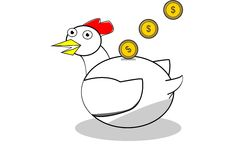Moneybox shaped hen. An illustration about moneybox shaped hen with coins above him Royalty Free Stock Photography