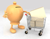Moneybox with a shopping cart Royalty Free Stock Photo