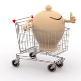 Moneybox in a shopping cart ok Royalty Free Stock Images