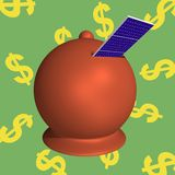 Moneybox solar panels. Moneybox with solar panels which enter into the slot Royalty Free Stock Photo