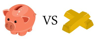 Moneybox vs gold Royalty Free Stock Photography
