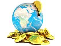 Moneybox w postaci złotej dolar monety i ziemi Fotografia Royalty Free
