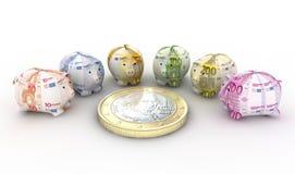 Moneyboxes ed euro Immagine Stock