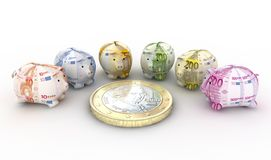 Moneyboxes and euro Stock Image