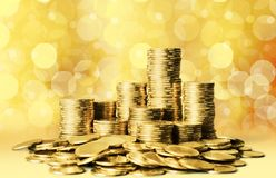 Moneyed. Money bank riches lot gold concept Royalty Free Stock Photos