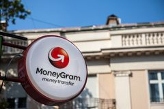 Moneygram logo on their main exchange office for Belgrade. Moneygram is an American financial services company. Picture of the Moneygram sign on their main royalty free stock image
