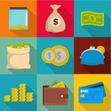 Moneymaking icons set, flat style. Moneymaking icons set. flat set of 9 moneymaking vector icons for web isolated on white background Royalty Free Stock Photos