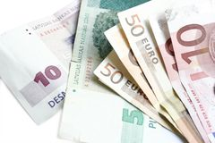 Moneys. Few several banknotes isolated on white Royalty Free Stock Photography